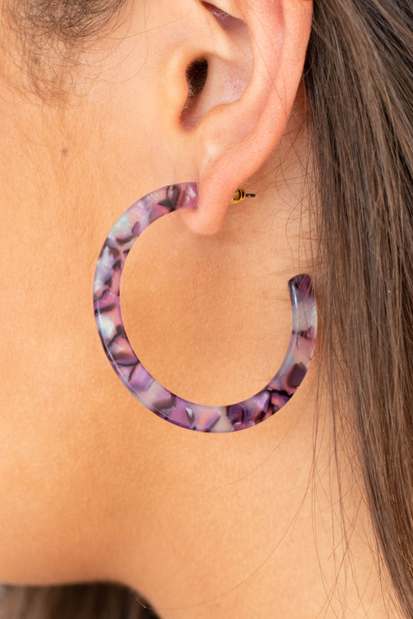 accessories, earrings, acetate, hoops, purple, blue, tortoise pattern