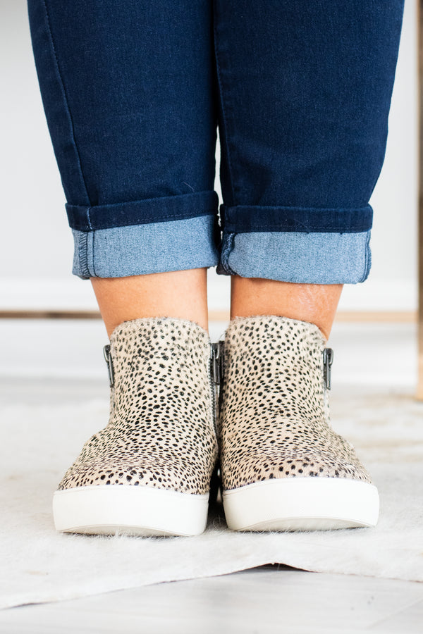 sneakers, ankle high, zipper sides, black, taupe, leopard, white sole