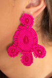 earrings, dangly, beaded, large, pink, circle design