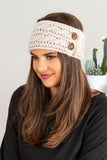 headband, knitted, crochet detail, button detail, off white, fall, winter