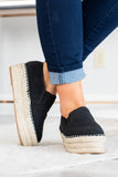 slides, platform, rope heel, black, casual