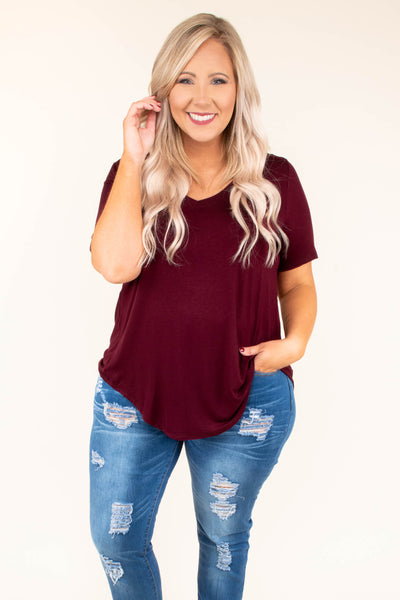 tshirt, short sleeve, burgundy, vneck, flowy, soft
