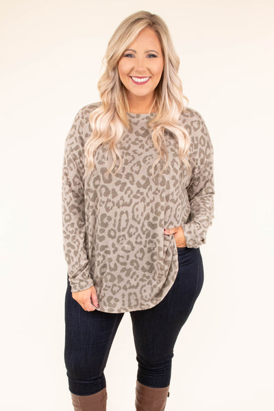 shirt, long sleeve, curved hem, taupe, leopard, flowy, comfy