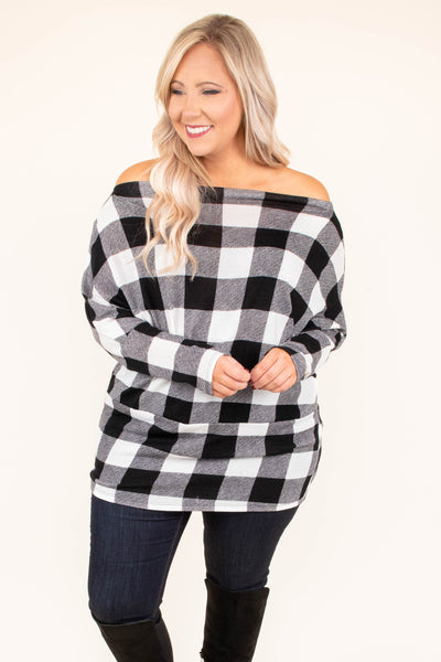 shirt, long sleeve, long, fitted, off the shoulder, black, white, plaid, comfy, fall, winter