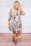 dress, short, three quarter sleeve, pockets, flowy, gray, brown, pink, floral, comfy