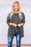 tunic, three quarter sleeve, long, knotted hem, drapey, charcoal, comfy