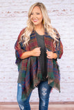 poncho, three quarter sleeve, fringe, asymmetrical hem, green, navy, red, orange, plaid, outerwear, fall
