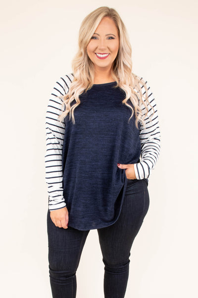 shirt, long sleeve, curved hem, navy, heathered, striped sleeves, white, comfy, flowy, fall, winter