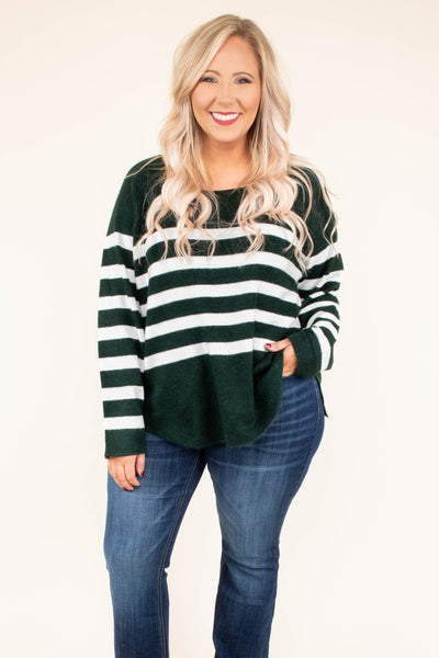 top, sweater, striped, green, white, scoop neck