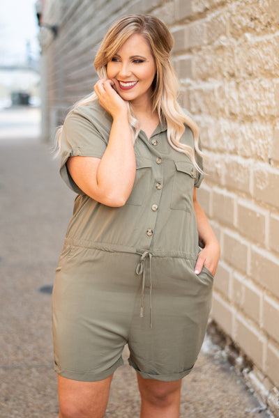 romper, short sleeve, shorts, drawstring waist, olive, solid, button down, vneck, pockets, comfy, spring, summer