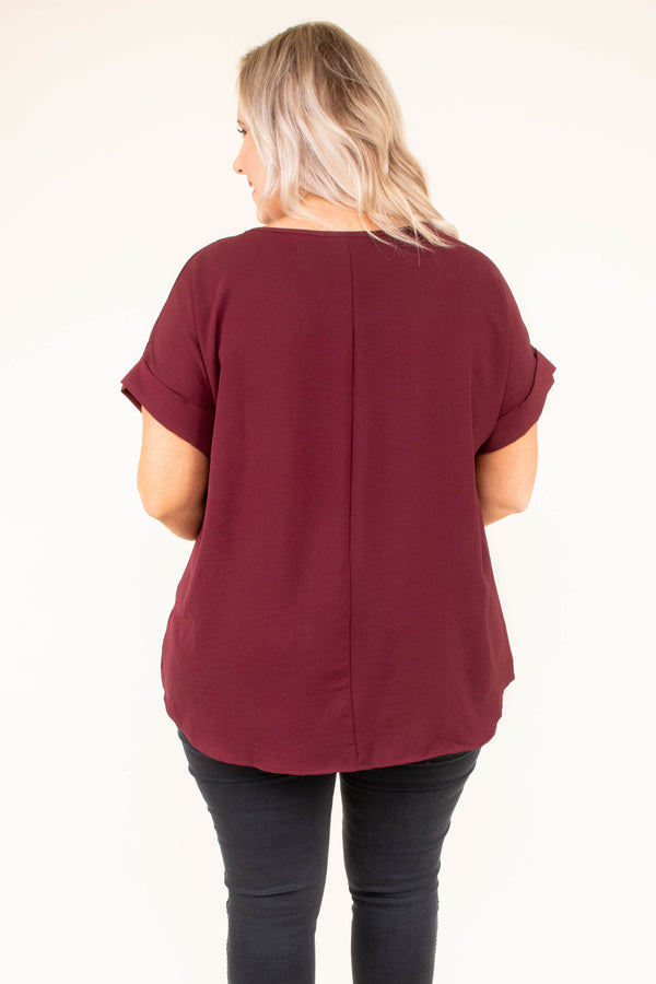 shirt, short sleeve, cuffed sleeve, flowy, burgundy, comfy