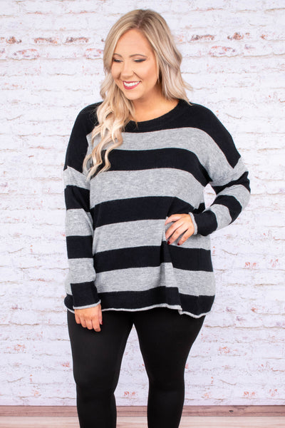 sweater, long sleeve, loose, black, gray, striped, comfy, fall, winter