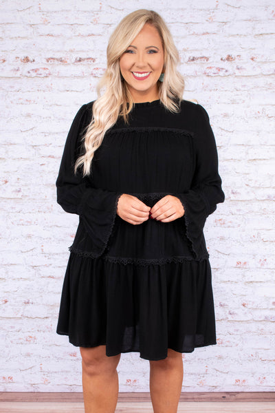 dress, short, long sleeve, bell sleeves, high neck, flowy, fancy, black, fall, winter