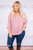 sweater, three quarter sleeve, loose, mauve, ribbed, short, cozy, fall