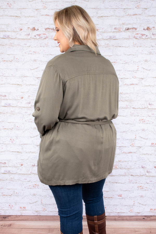 top, jacket, olive, waist tie, flattering, lightweight, fall, winter, functional