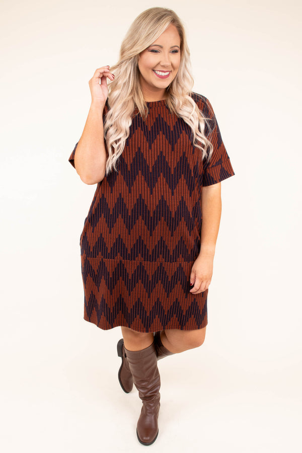 dress, short, short sleeves, pockets, rust, brown, chevron, fall, winter