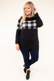 shirt, long sleeve, curved hem, fitted, black, white, plaid, colorblock, comfy, fall, winter