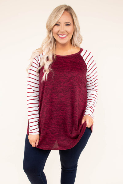 shirt, long sleeve, curved hem, red, heathered, striped sleeves, white, comfy, flowy, fall, winter
