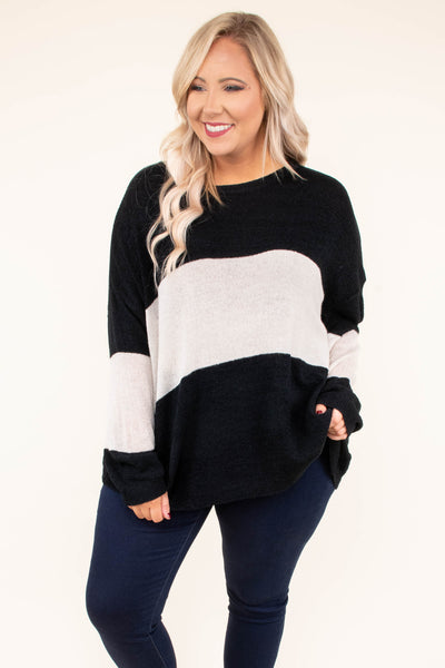 sweater, long sleeve, long, flowy, black, white, colorblock, comfy, fall, winter