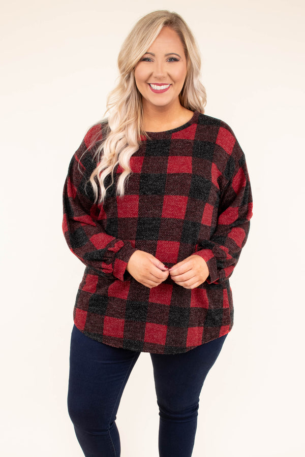 top, long sleeve, buffalo plaid, red, charcoal, plaid, balloon sleeve, comfy, criss cross back