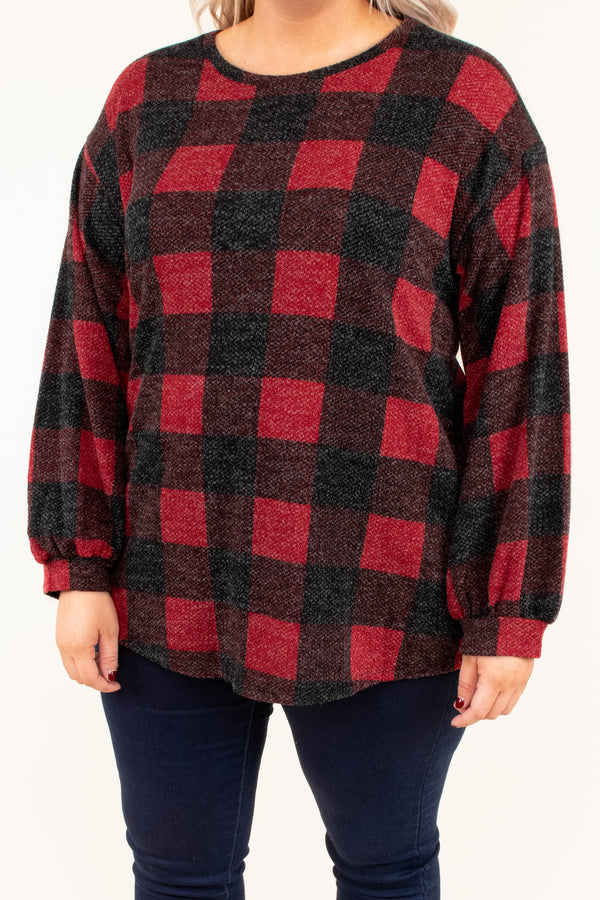 top, long sleeve, buffalo plaid, red, charcoal, plaid, balloon sleeve, comfy