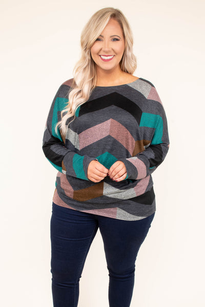 tunic, long sleeve, short, fitted, gray, pink, teal, brown, chevron, comfy, fall, winter