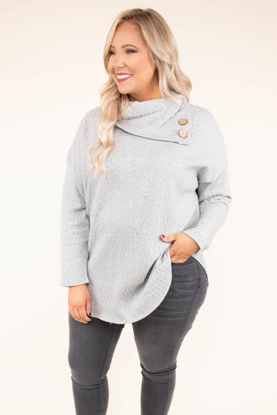 shirt, long sleeve, cowl neck, button neckline, curved hem, comfy, gray, fall, winter