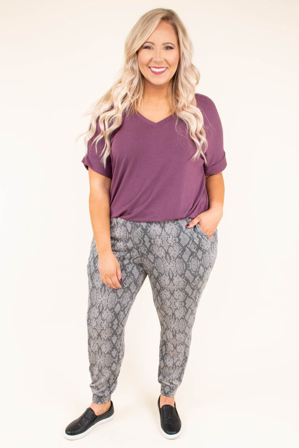pants, joggers, gray, snake print, pockets, comfy