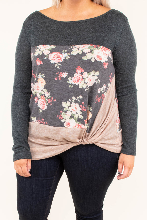 shirt, long sleeve, twisted hemline, short, charcoal, floral, pink, green, tan, colorblock, comfy, fall, winter