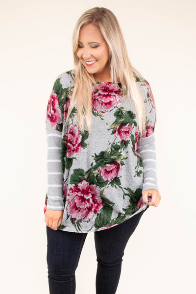 shirt, long sleeve, long, loose, gray, floral, red, green, striped sleeves, white, comfy, fall, winter