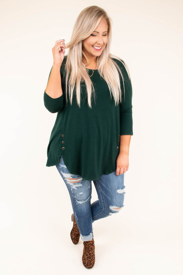 shirt, three quarter sleeves, scoop neck, side button detail, higher sides, long, hunter green, solid, loose, fall, winter