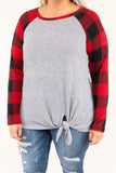 shirt, long sleeve, tie front, gray, plaid sleeves, red, black, comfy, elbow patches, longer back, fall, winter