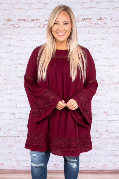 top, shirt, flowy, tunic, lace details, bell sleeve, wine