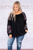 top, long sleeve, balloon sleeve, black, multi colored embroidery