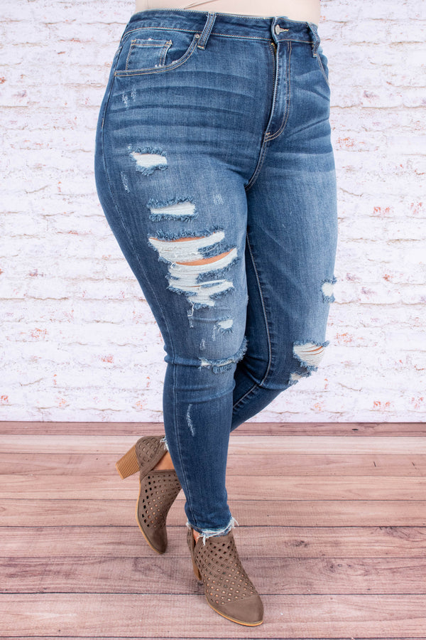 jeans, blue, distressed, cut, ripped, skinny, long