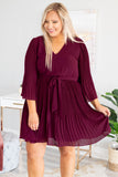 dress, short, three quarter sleeve, vneck, tie waist, bell sleeves, pleated, flowy, red, comfy, fall, winter