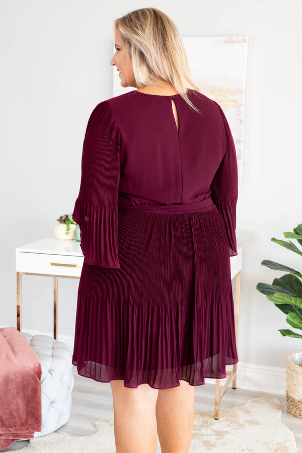 Spinning Around The Dance Floor Dress, Wine