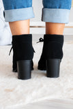 shoes, booties, lace up, heeled, black, solid