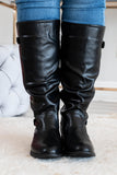shoes, boots, knee high, leather, black, detailed back