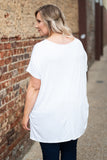tunic, short sleeve, white, long, flowy, side slits, comfy