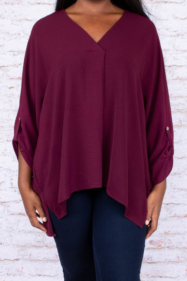 blouse, three quarter sleeves, button sleeves, loose sleeves, vneck, longer back, flowy, burgundy, solid