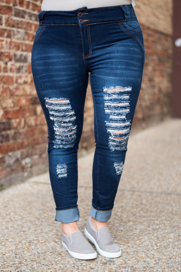 Double The Fun Jeans, Navy