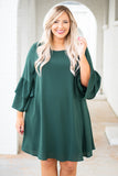 dress, three quarter sleeve, flowy, bell sleeve, green, ruffle hem