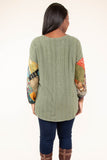 top, long sleeve, tunic, olive, pattern sleeve, color block,  curved hem