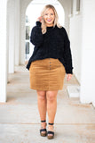 skirt, tan, corduroy, short, pockets, button up