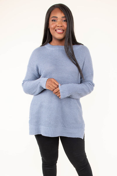 sweater, long sleeve, slit sides, blue, solid, comfy, fall, winter