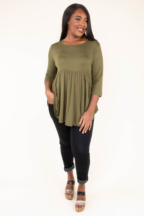shirt, three quarter sleeve, babydoll, flowy, olive, comfy, curved hem