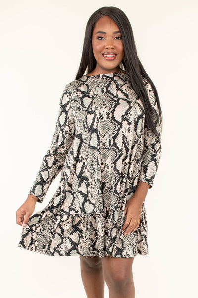 dress, long sleeve, short, snakeskin print, python, tan, charcoal