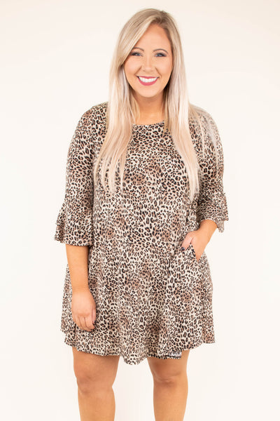 dress, short, three quarter sleeve, pockets, bell sleeves, flowy, brown, black, leopard, comfy, fall, winter