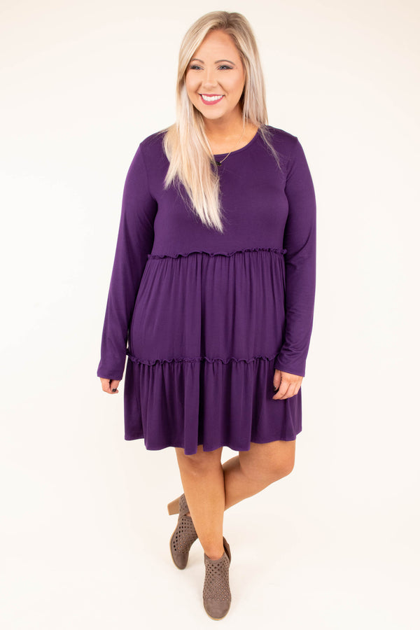 dress, short, long sleeve, babydoll, ruffles, flowy, purple, comfy, fall, winter